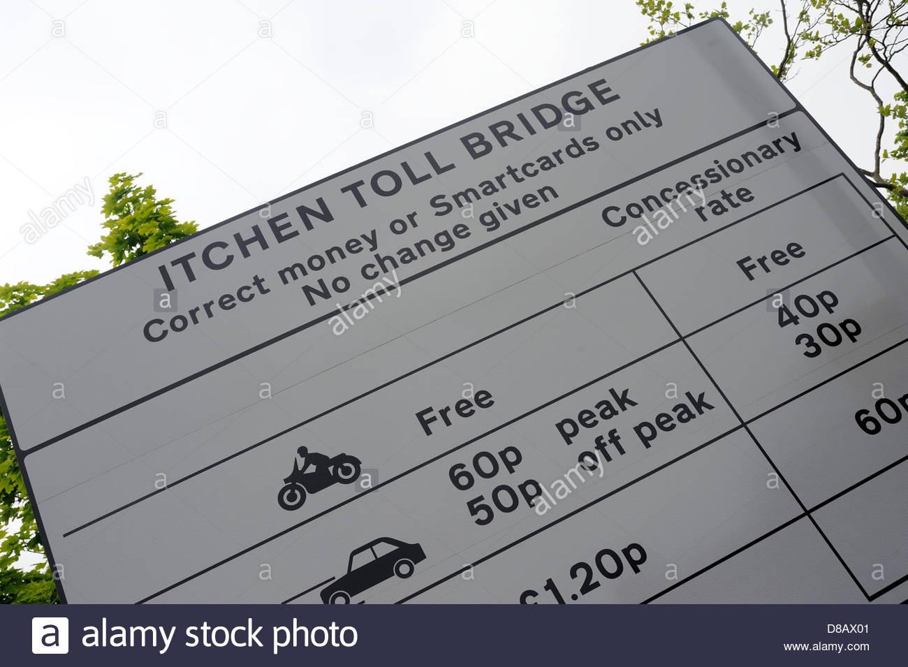 Itchen Toll Bridge Southampton UK Tariffs, Correct change or smart card only. - Stock Image