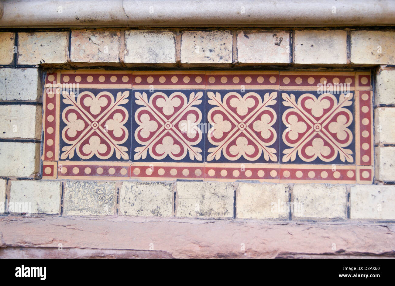 Polychrome encaustic tiles, Abbey Mills sewage pumping station 1868 by  Bazalgette and  Cooper, Stratford, London, - Stock Image