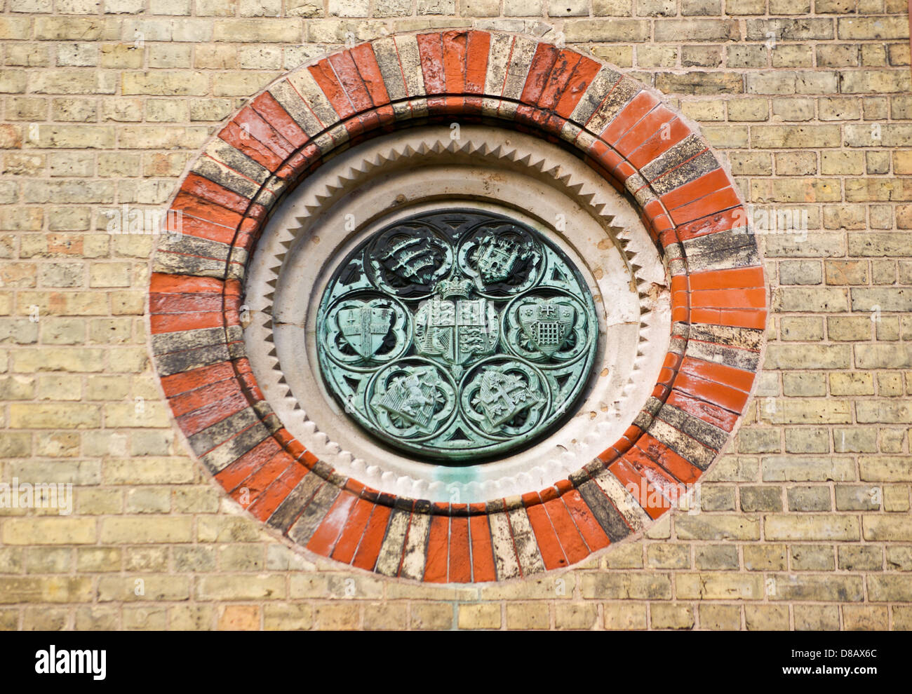 Medallion of local authorities, Abbey Mills sewage pumping station 1868 by Bazalgette and Cooper, Stratford, London, - Stock Image