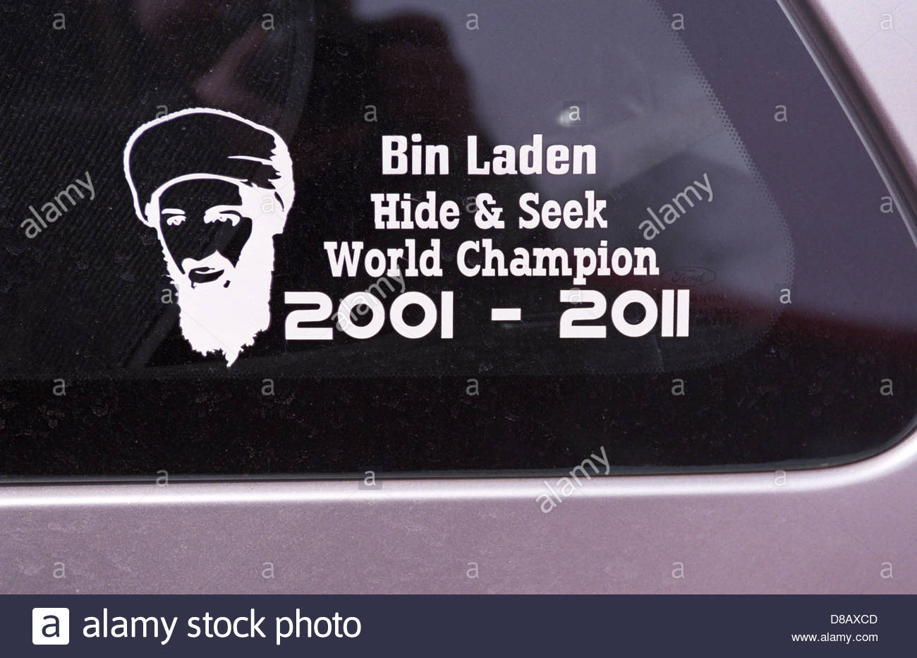 Car sticker celebrating the death of osama bin laden stock image