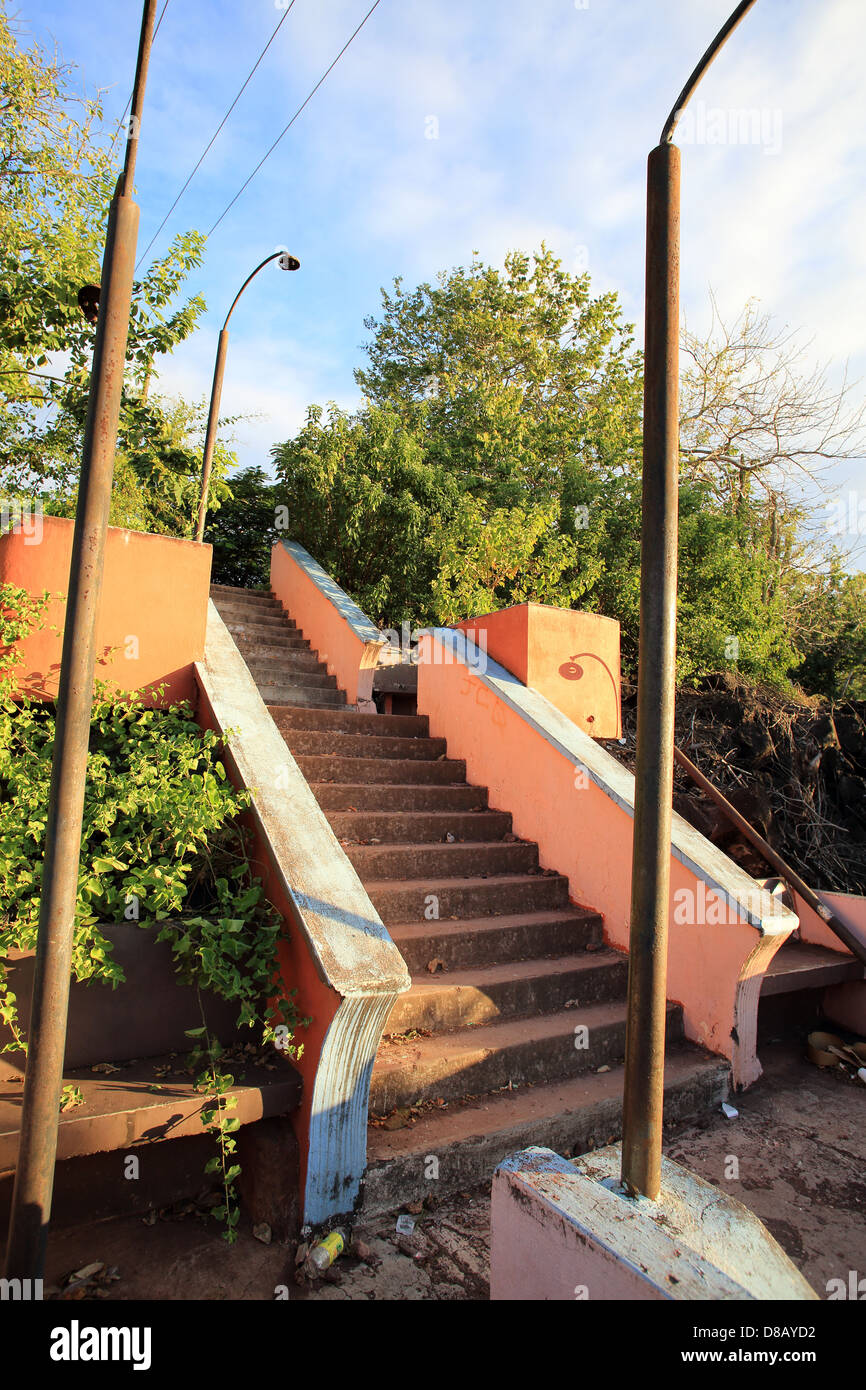 Public steps in a state of disrepair in Puerto Baquerizo Moreno, Galapagos Islands - Stock Image