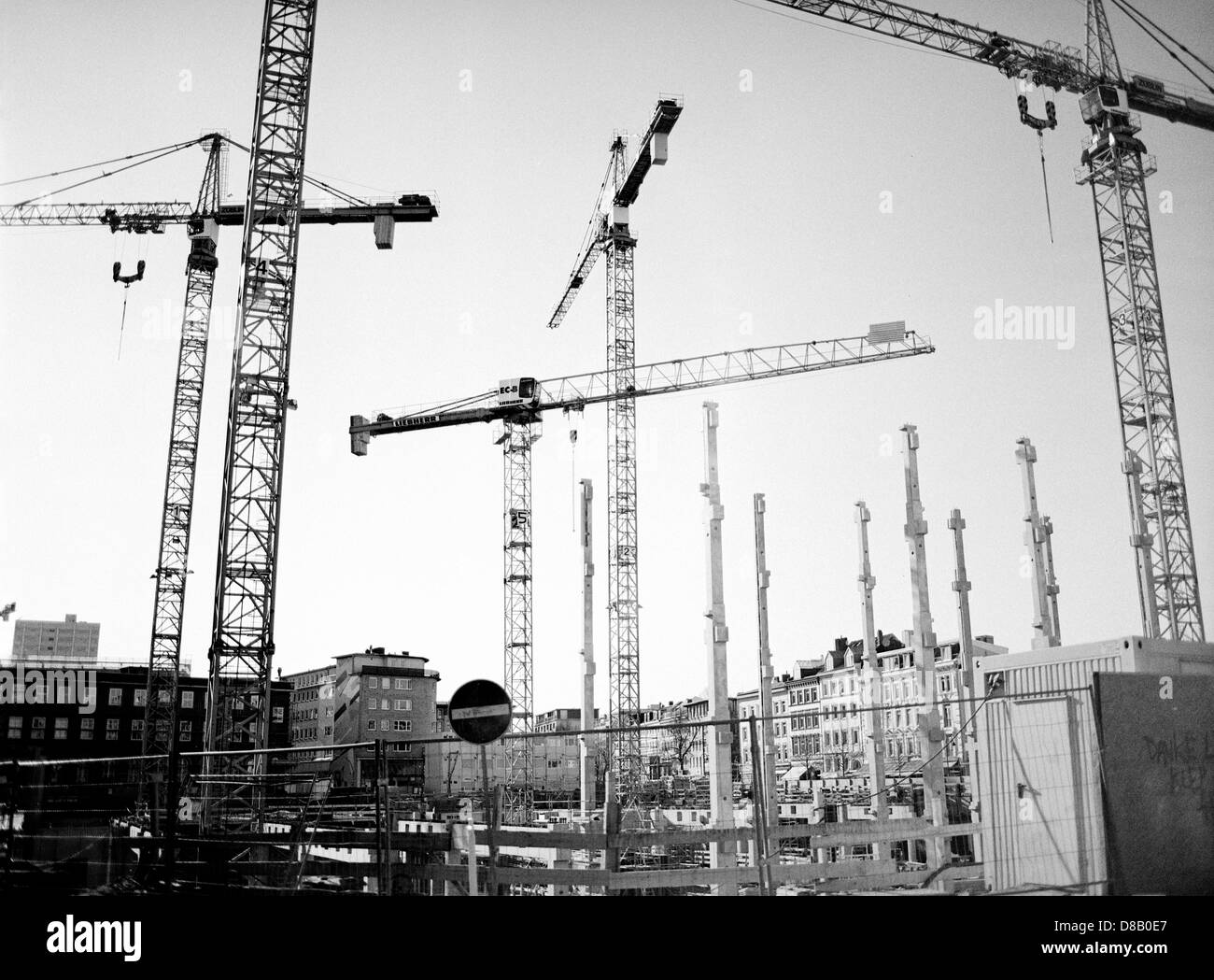 New IKEA branch in the making. Building site at Grosse Bergstrasse in Altona district of Hamburg. - Stock Image