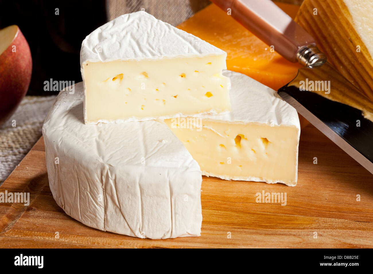 Fresh Organic White Brie Cheese on a background - Stock Image