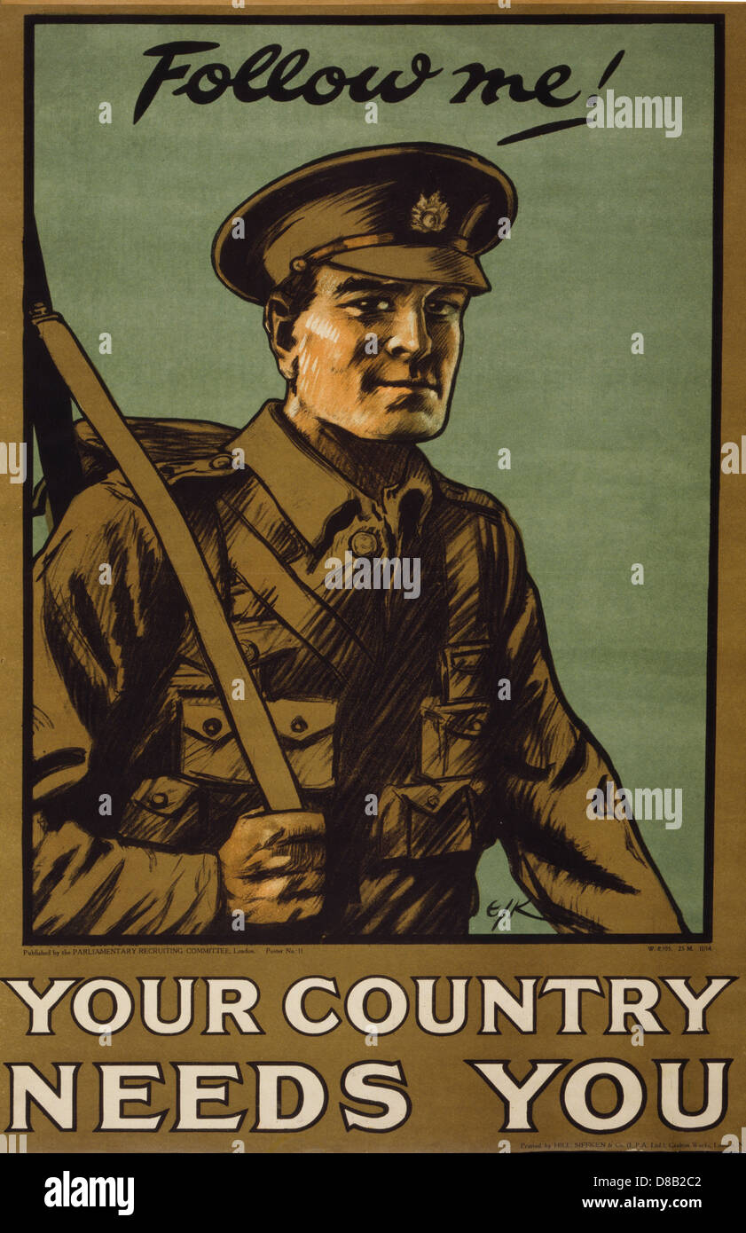 Follow me! Your country needs you 1914 British Enlist Popaganda - Stock Image
