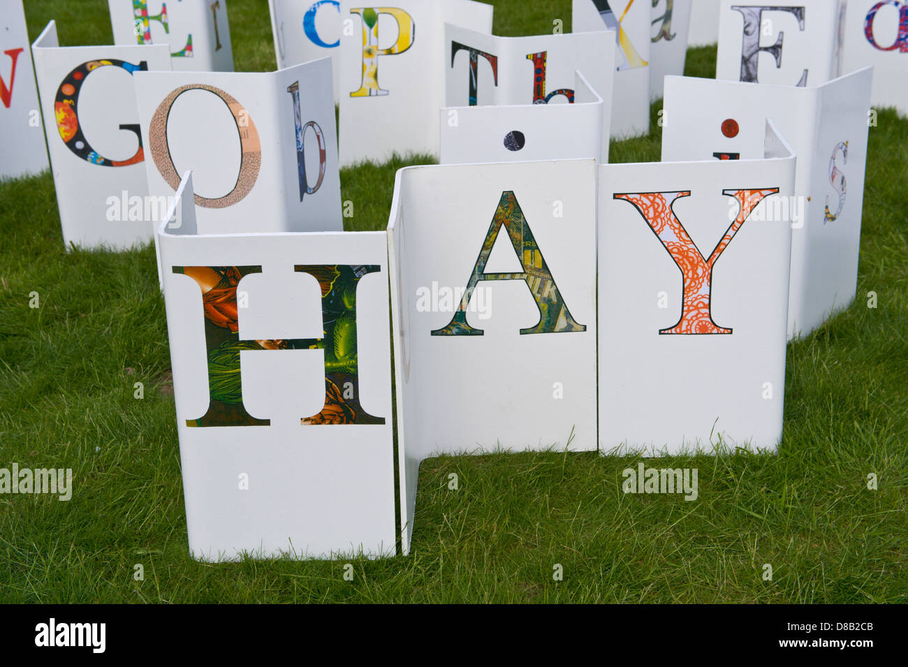 HAY alphabet project by students from Hereford College of Arts at Hay Festival Hay-on-Wye Powys Wales UK - Stock Image
