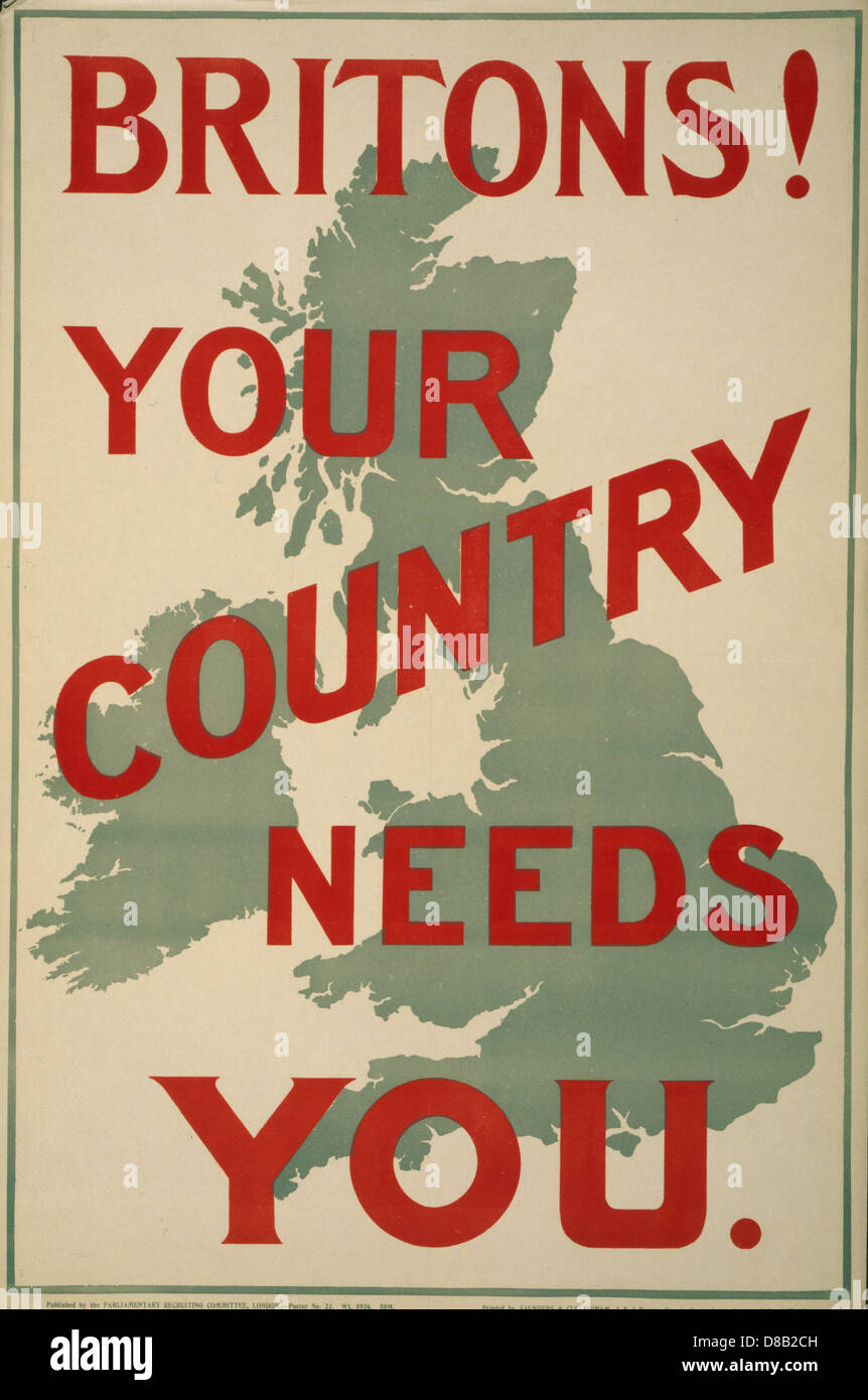 Britons! Your country needs you 1914 British Enlist Popaganda  Map of Britain - Stock Image