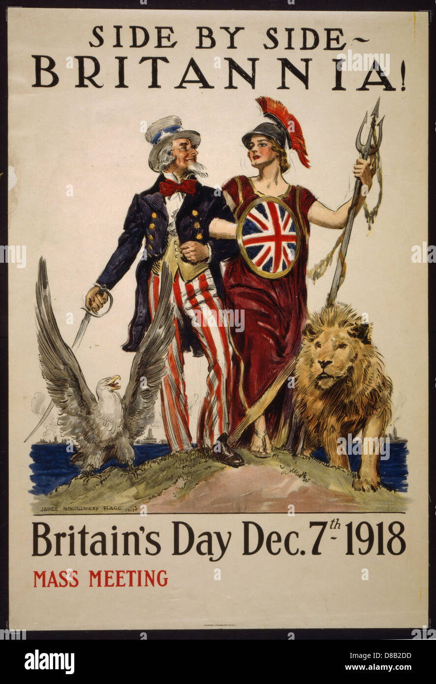 side by side britannia britain s day uncle sam 1918 uncle sam