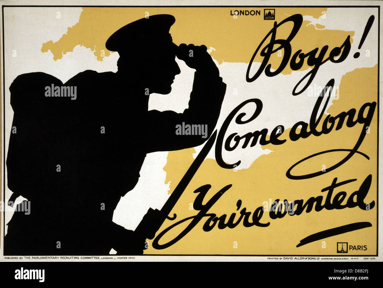 Boys! Come along, you're wanted 1915 British Enlist Popaganda - Stock Image