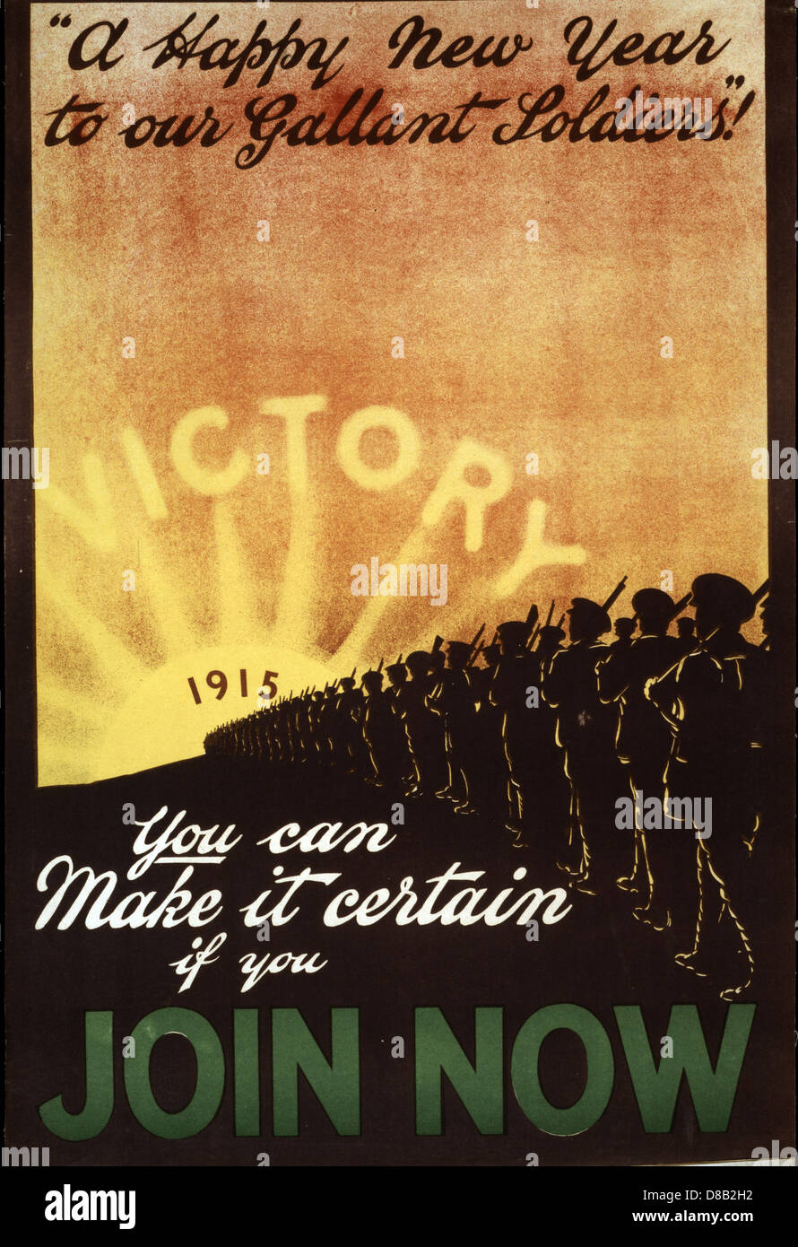 A happy new year to our gallant soldiers!' You can make it certain if you join now 1915 British Enlist Propaganda - Stock Image