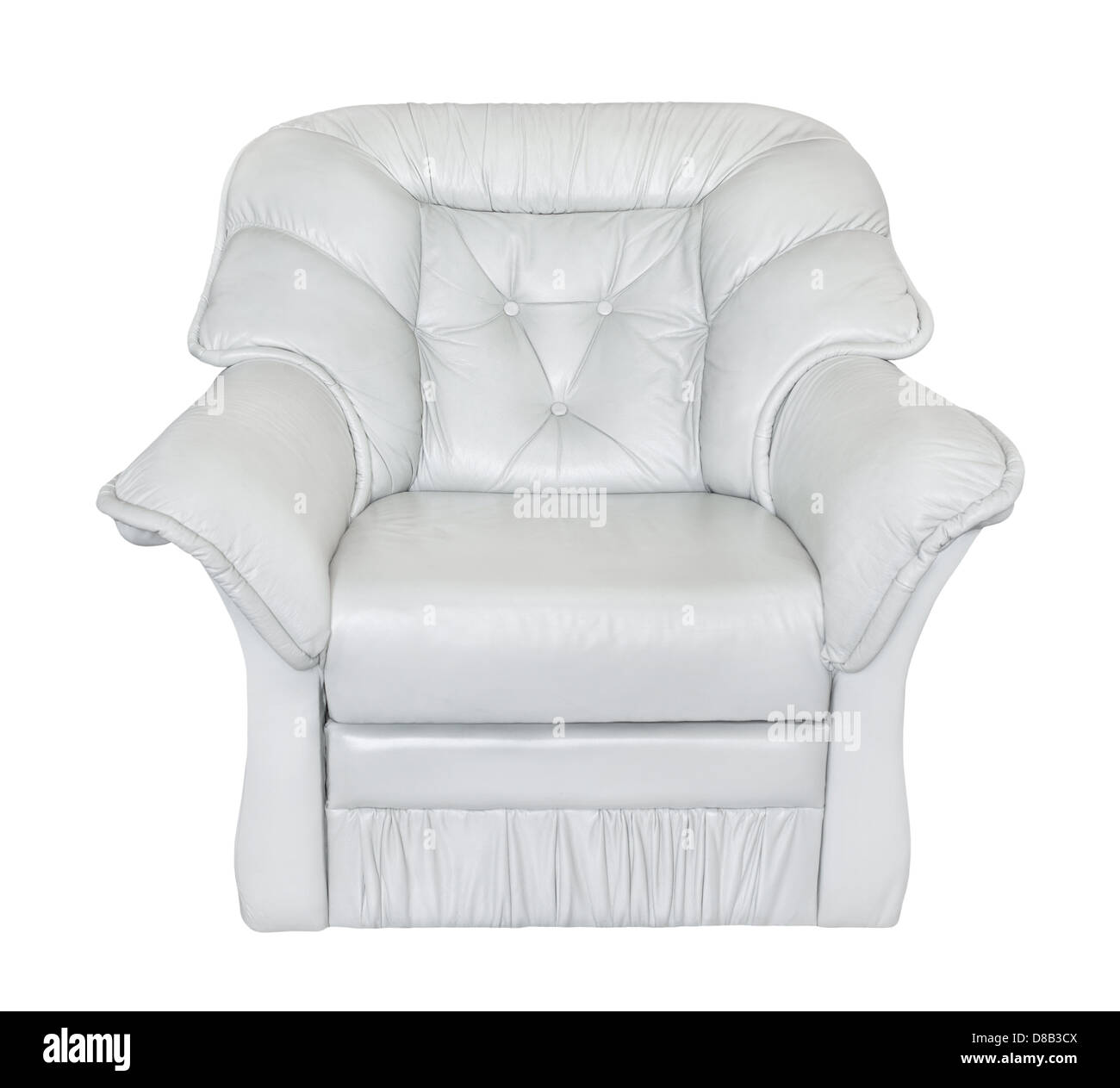 armchair leather white on white background - Stock Image