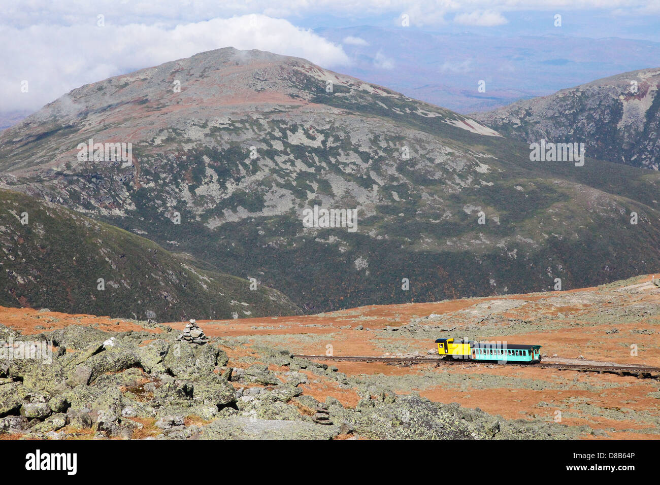 Mount Washington Cog Railroad to the peak in the White Mountains, Coos County, New Hampshire, United States. - Stock Image