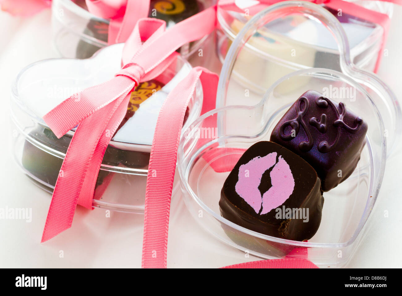 Miniature hear shaped boxes filled with gourmet truffles Stock Photo ...