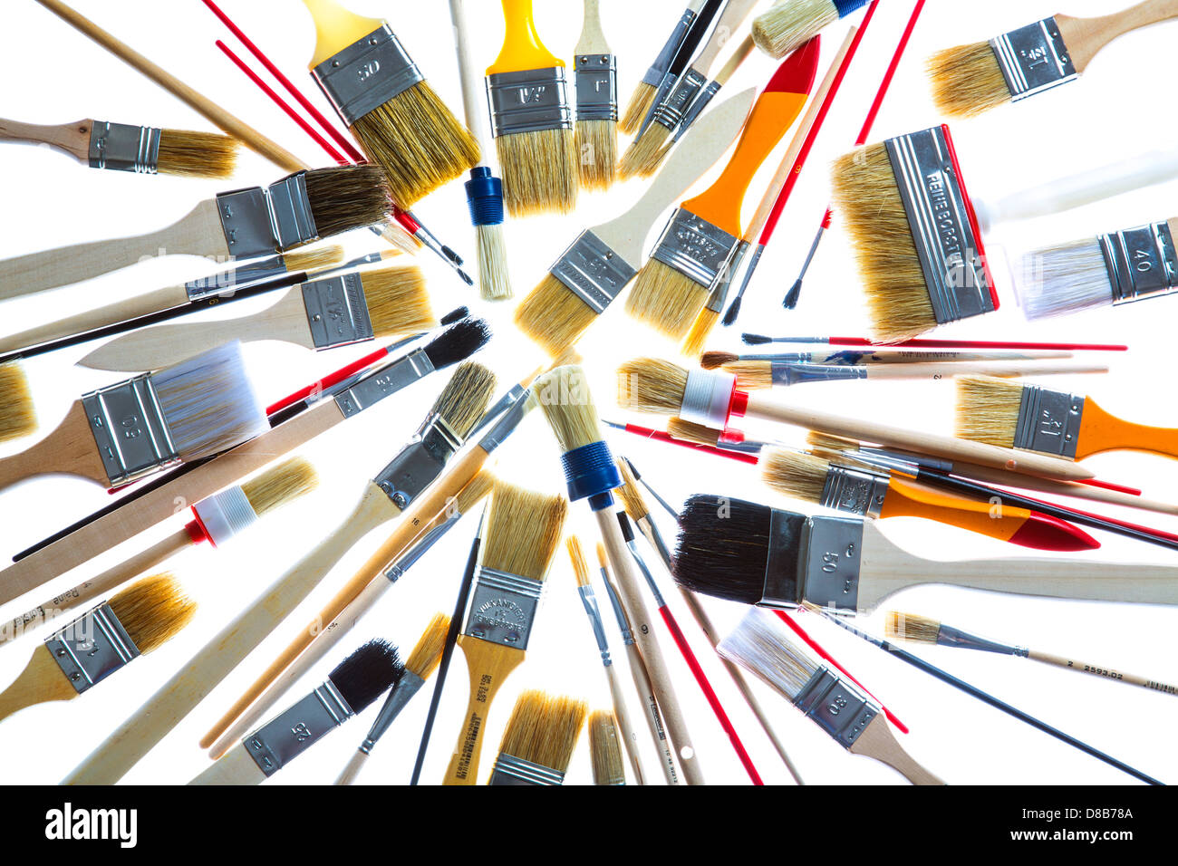 Different Types Of Paintbrushes Colors Painting Tools Stock Photo