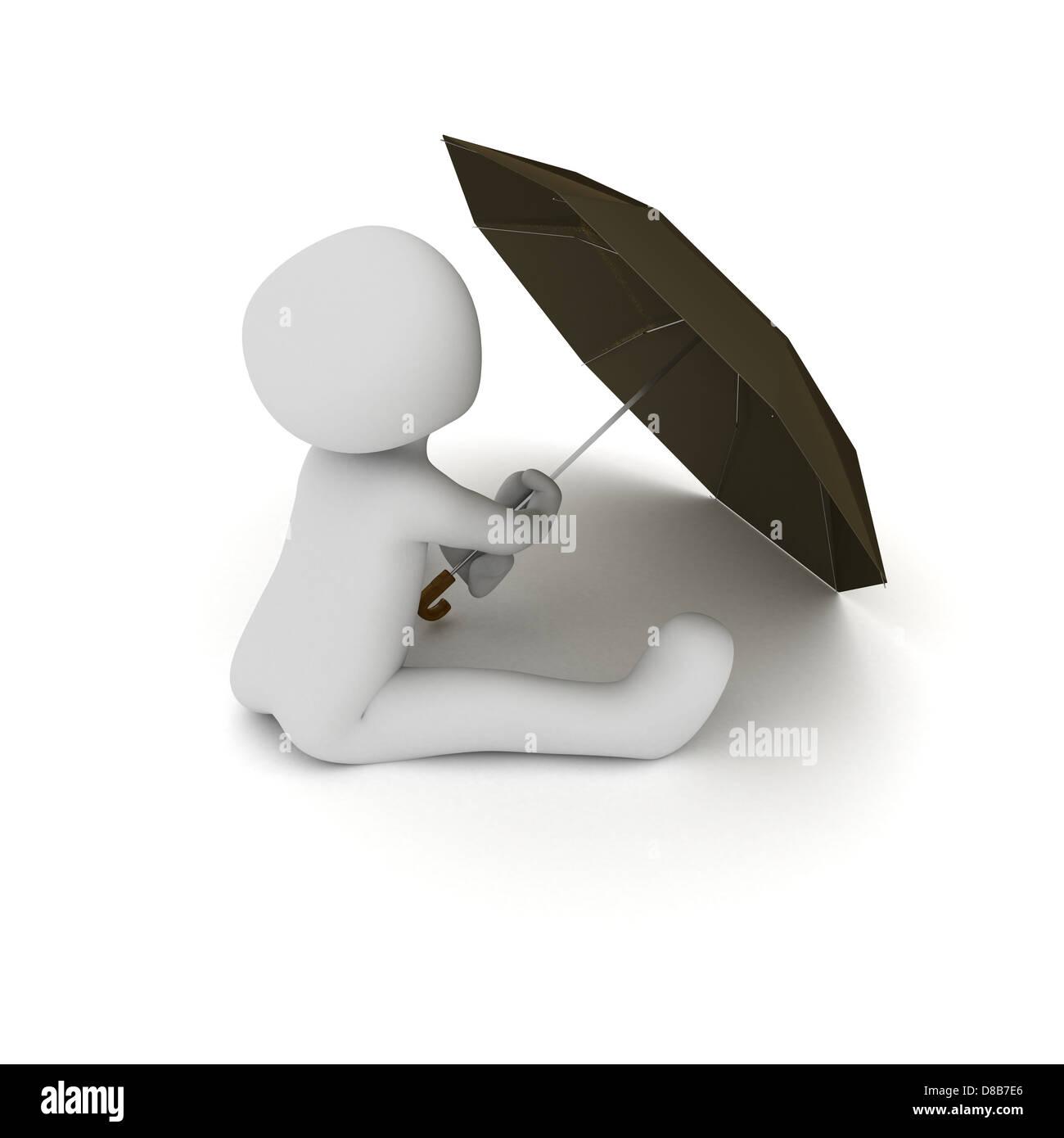 A Child Sitting Mind An Umbrella In Hand