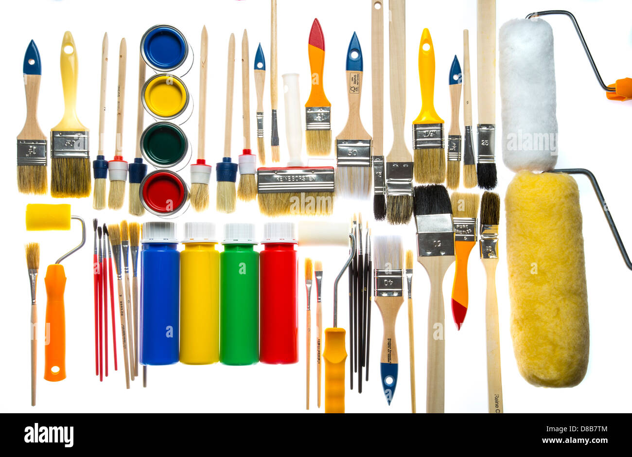 Different types of paintbrushes colors painting tools for Different types of paint for art