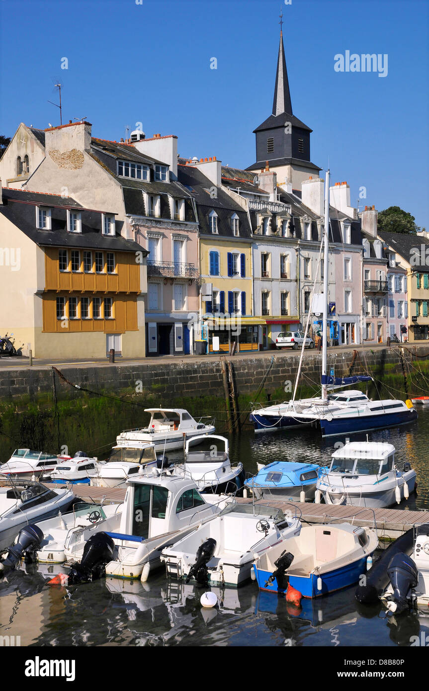 Port of Le Palais, main town of Belle Ile (Beautiful island), with the tower bell of church of Saint Gerons, in - Stock Image