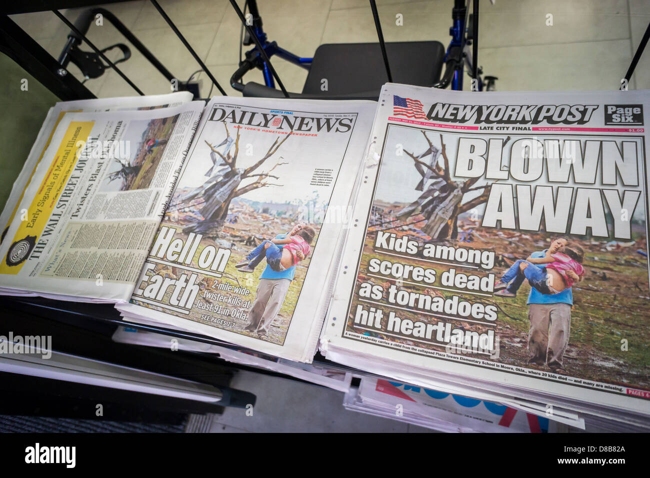 Copies of the New York Daily News and the New York Post and the less competitive Wall Street Journal use the same - Stock Image