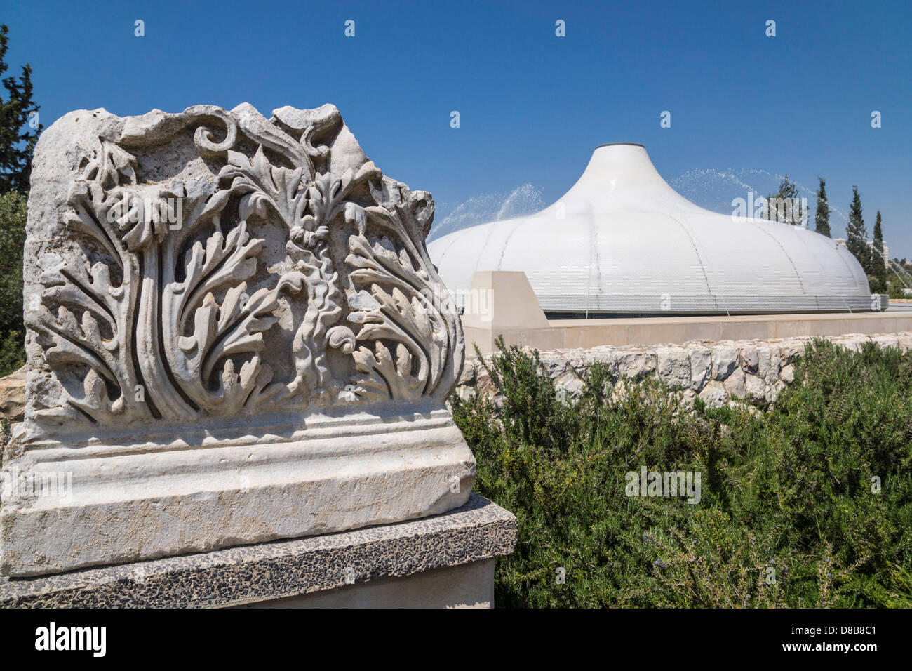 Jerusalem. A Roman pillar in front of the Shrine of the Book, where the dead sea scrolls are stored, in the Israel Stock Photo