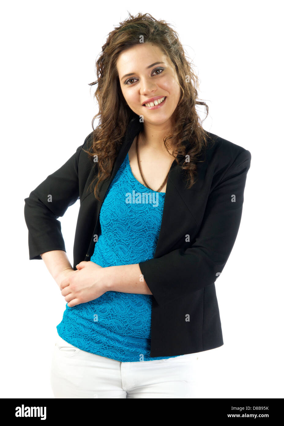Woman elegant and casual dressed with beautifull expressions - Stock Image