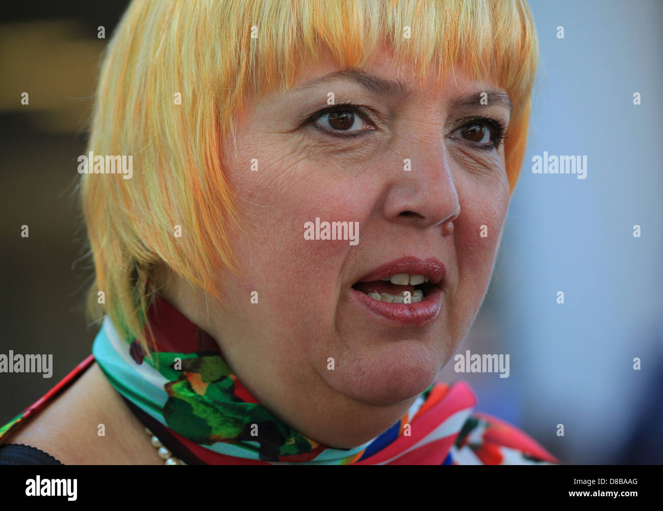 Portrait of Claudia Roth, a German Green Party politician (Alliance '90/The Greens) and one of the current Vice - Stock Image