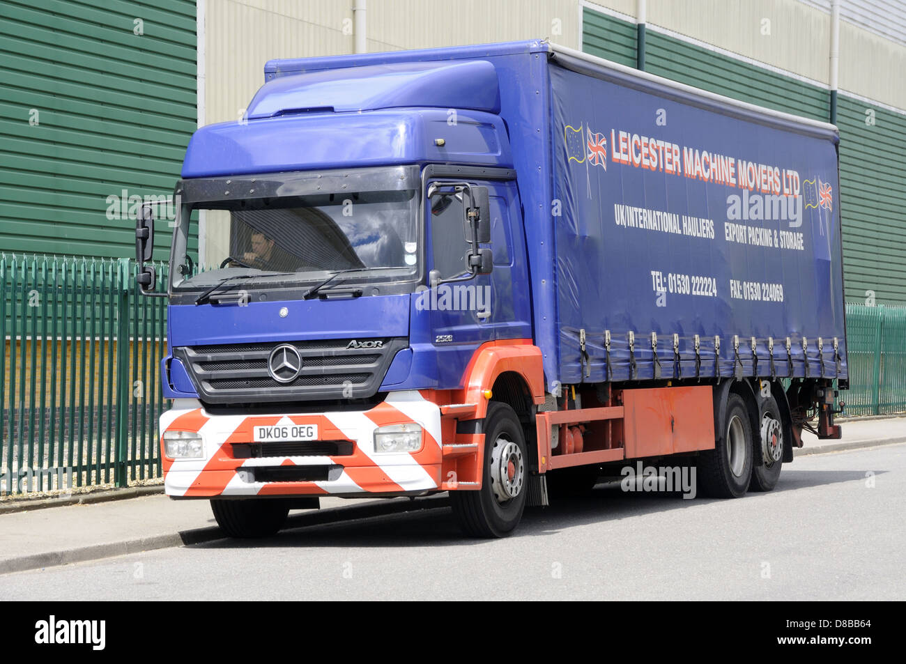 A Mercedes Axor 2528 in the livery of Leicester Machine Movers, in  Leicester, Leicestershire