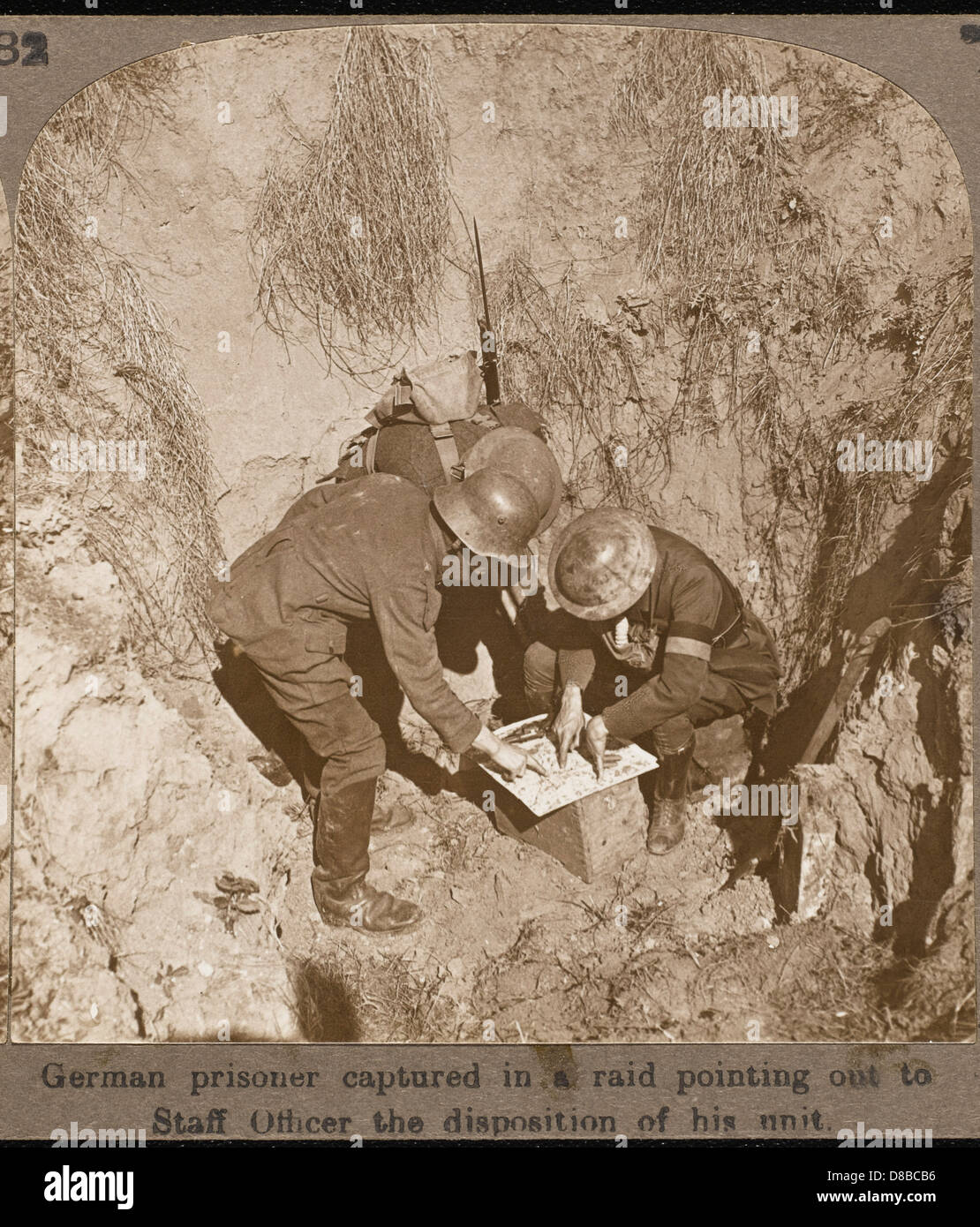 Examining Map In 1st Ww - Stock Image