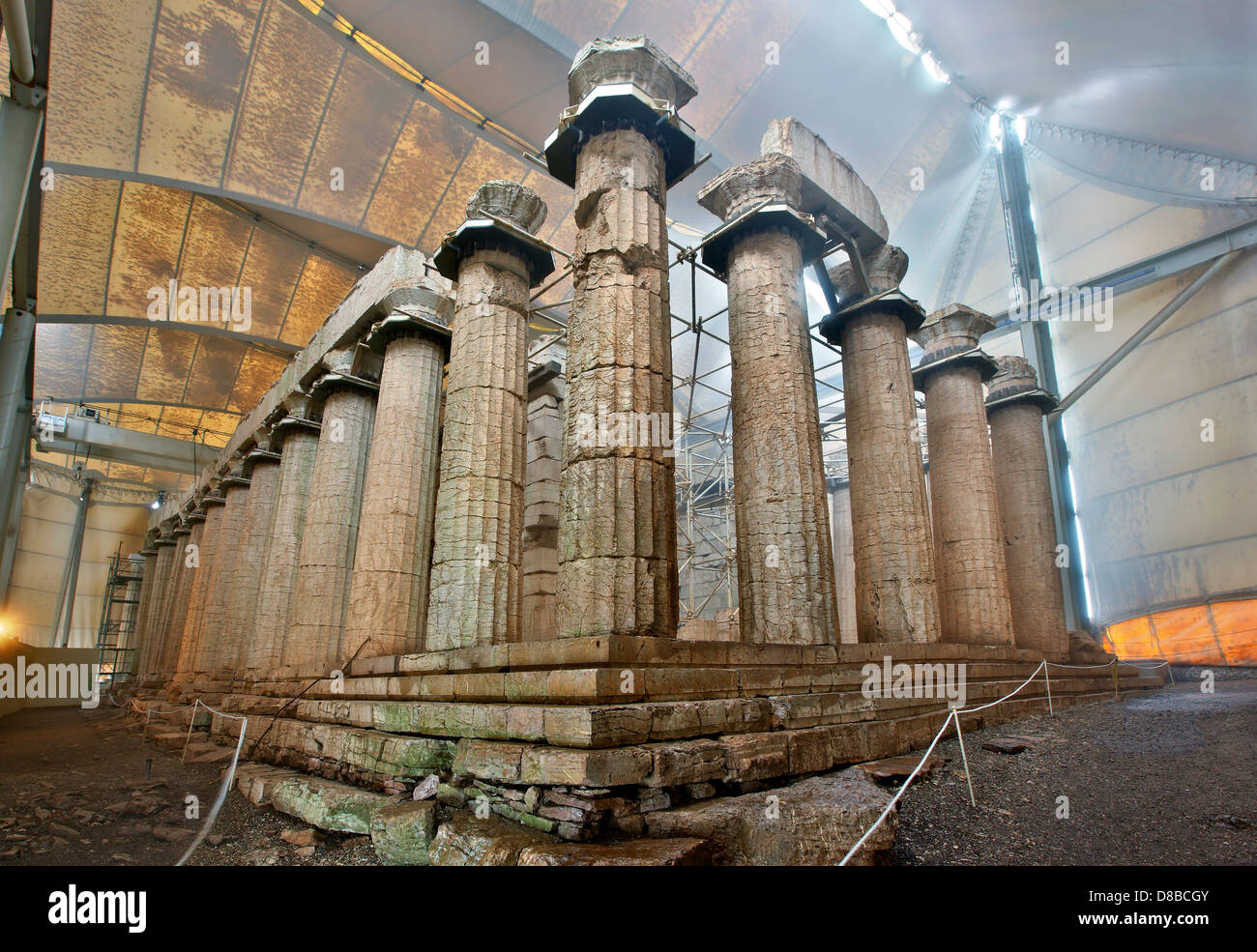 The temple of Apollo Epicurius covered by a protective tent (and fog) at Vasses, Peloponnese, Greece Stock Photo