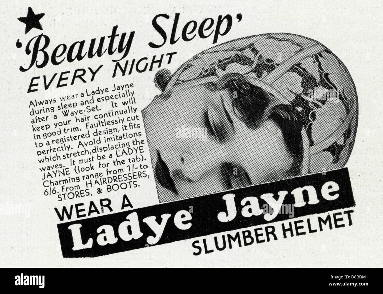 Advert For Ladye Jayne Slumber Helmet 1934 - Stock Image