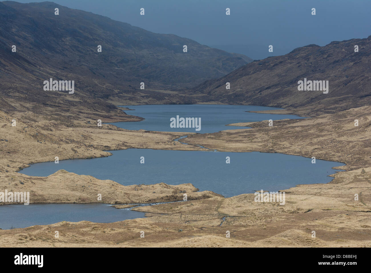 View of Loch an Eilein at front left, Loch an Ellen, center, and Loch Airdglais in distance, Isle of Mull, inner - Stock Image