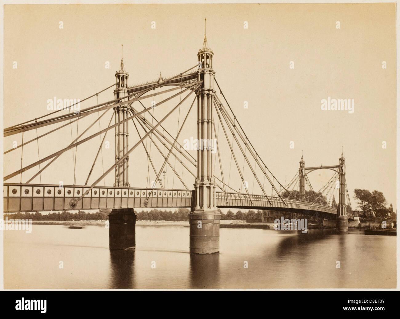 Chelsea Bridge 1877 Stock Photo