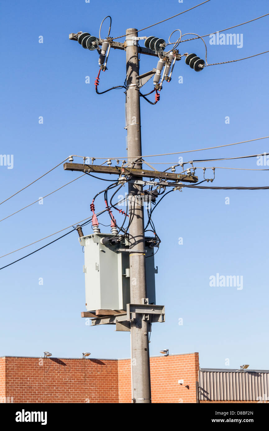 High Tension Three Phase Overhead Electrical Distribution Poles And Wiring Cables Sunbury Victoria Australia