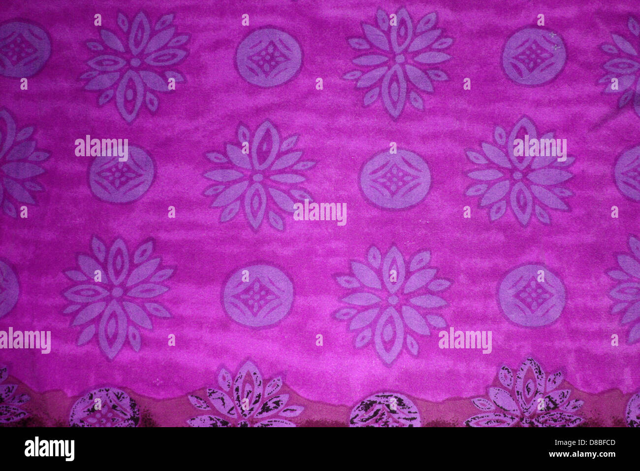 Hot Pink Fabric Texture With Purple Flowers And Circles Stock Photo
