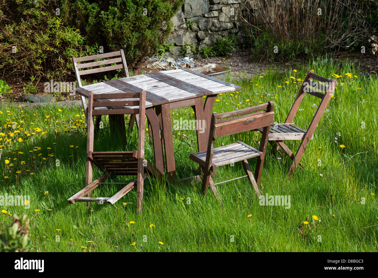 Overgrown lawn with unused garden chairs and tables, - Stock Image