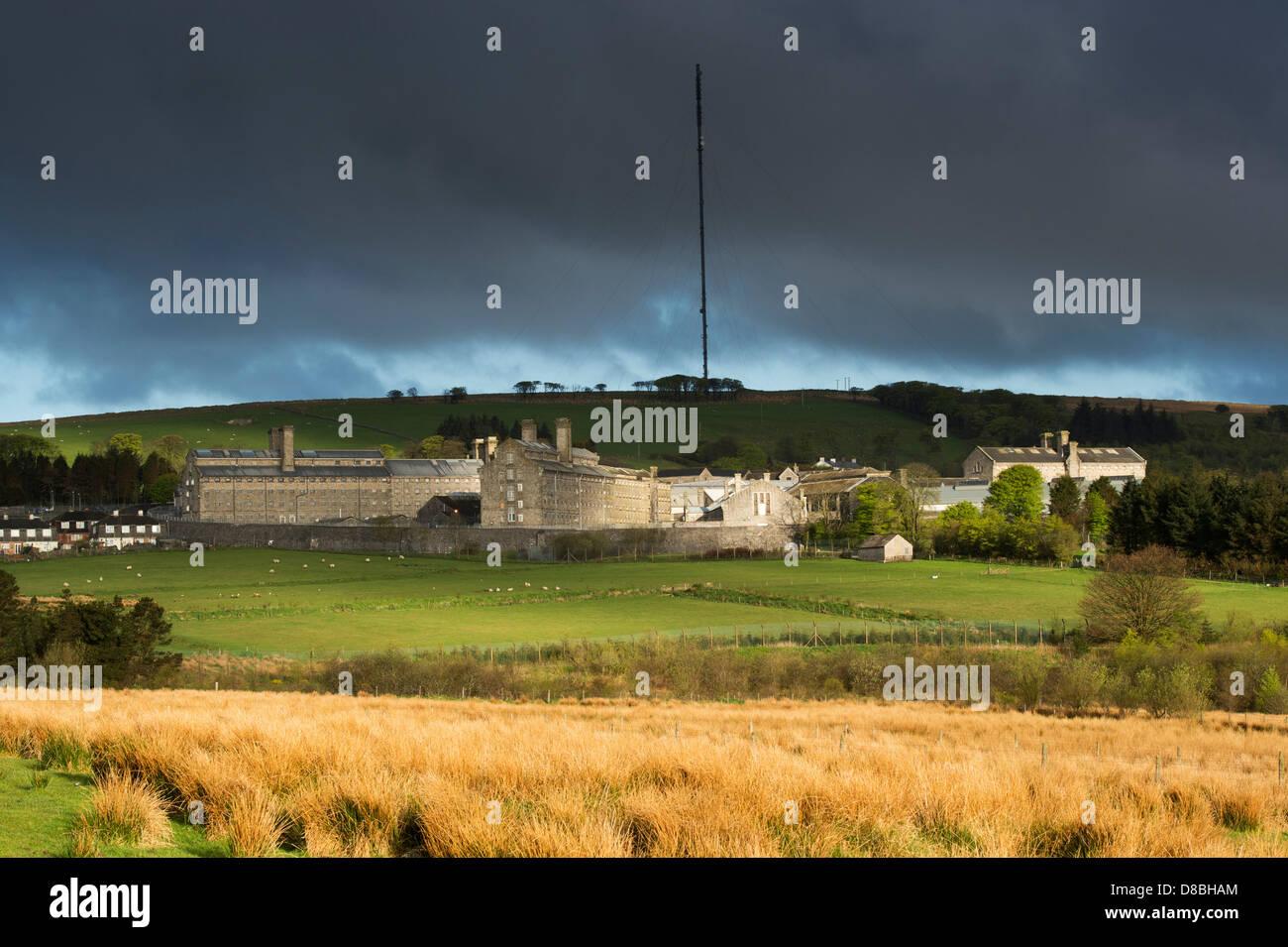 HM Prison Dartmoor against a stormy sky. Devon, England - Stock Image