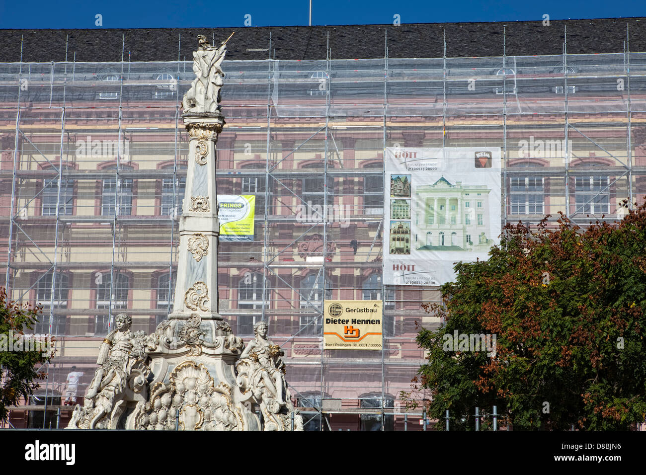 Building renovation, scaffolding, Georgsbrunnen fountain, Trier, Rhineland-Palatinate, Germany, Europe Stock Photo