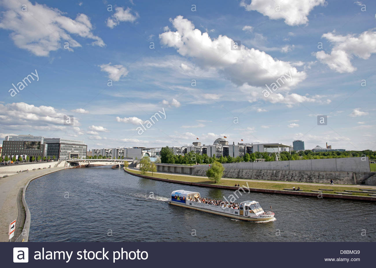 High angle view of a passenger ship moving in a river, Spree, Berlin, Germany - Stock Image