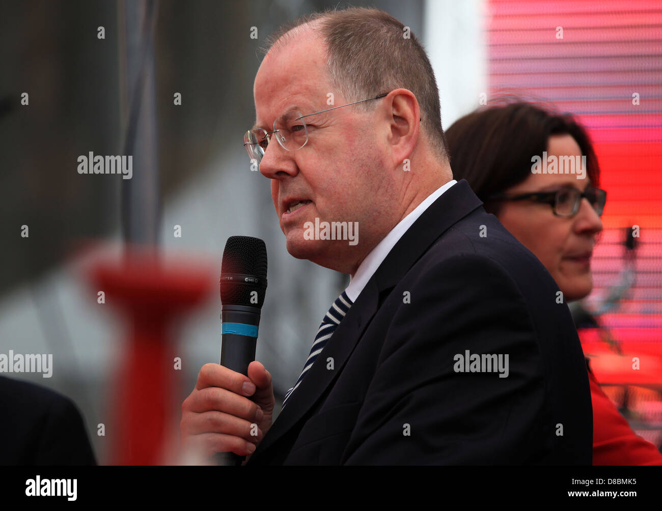 Peer Steinbrück (SPD) speaking at the 150th anniversary of the Social Democratic Party of Germany in Leipzig, - Stock Image