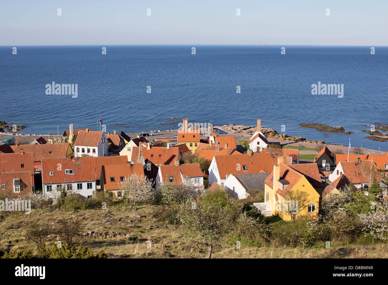 Gudhjem at the Baltic Coast on the island Bornholm, Denmark Stock Photo