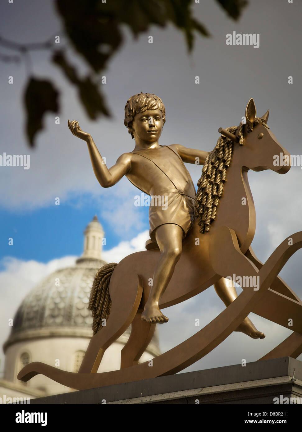 The boy on the rocking horse, Trafalgar Square, London, UK. Stock Photo