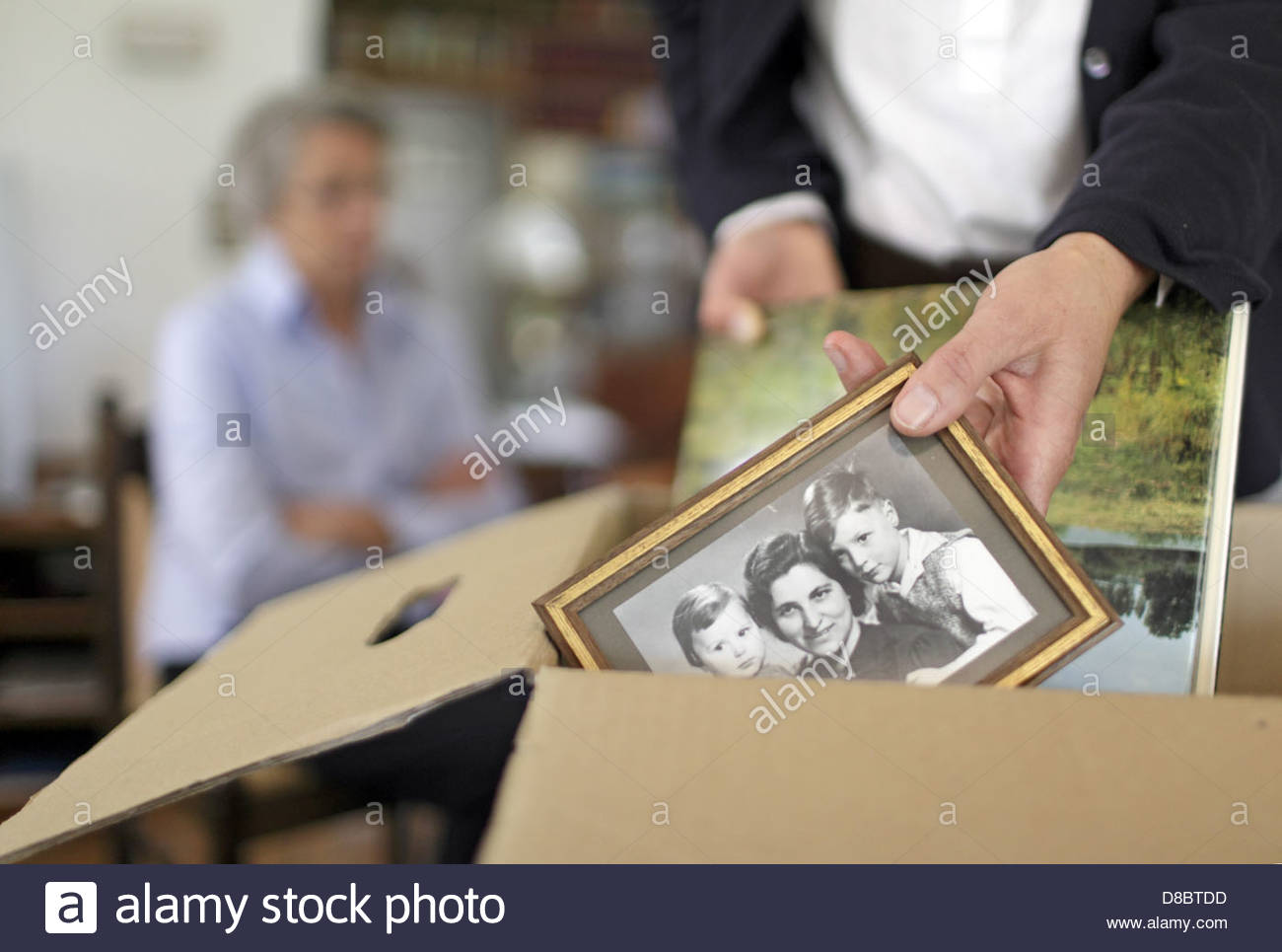Woman packing picture frame in a cardboard box for her mother - Stock Image