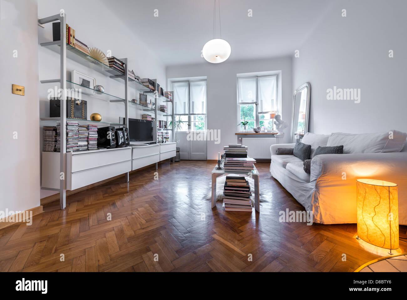 Classic Post Modern Interior Design In White Colors Stock ...