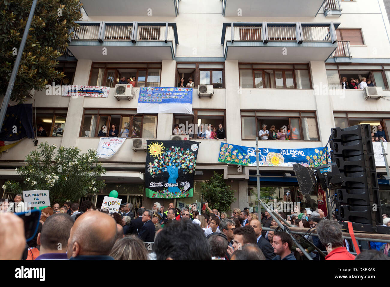 Banners hanging from windows and balconies in the building where used to live Giovanni Falcone and his wife Francesca - Stock Image