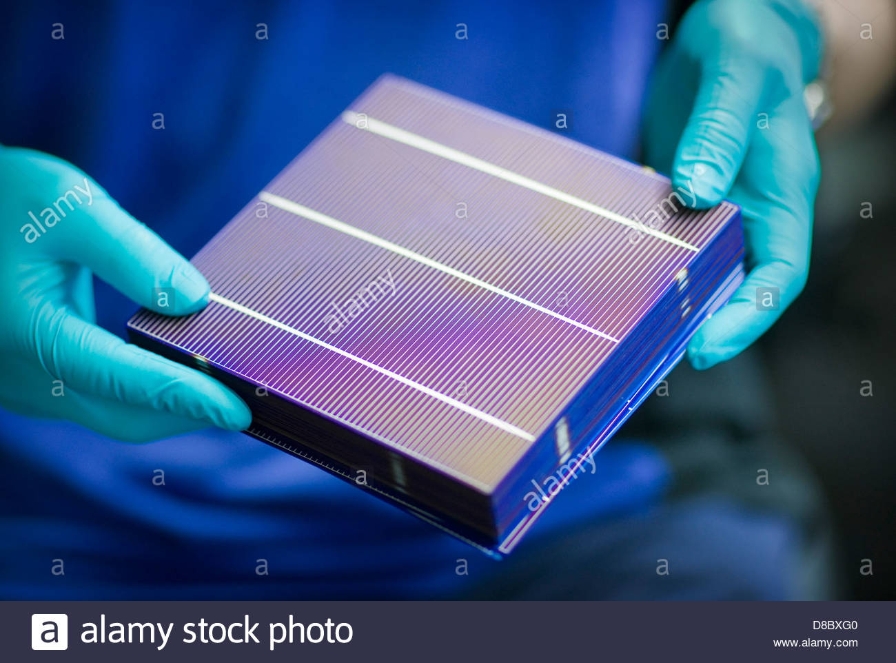 Engineer holding solar cells in a factory, Freiberg, Saxony, Germany - Stock Image