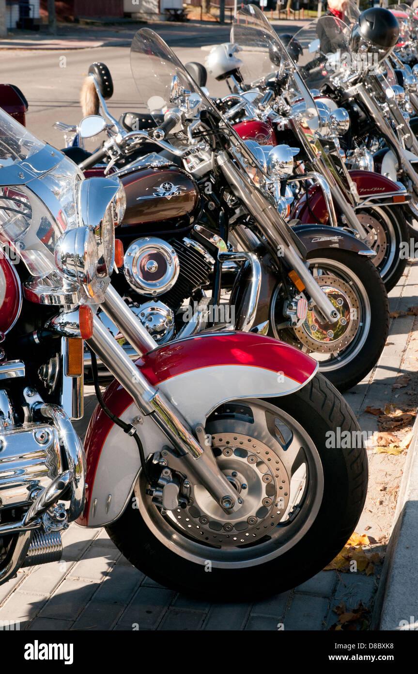 Row of shining Harley Davidson motors - Stock Image