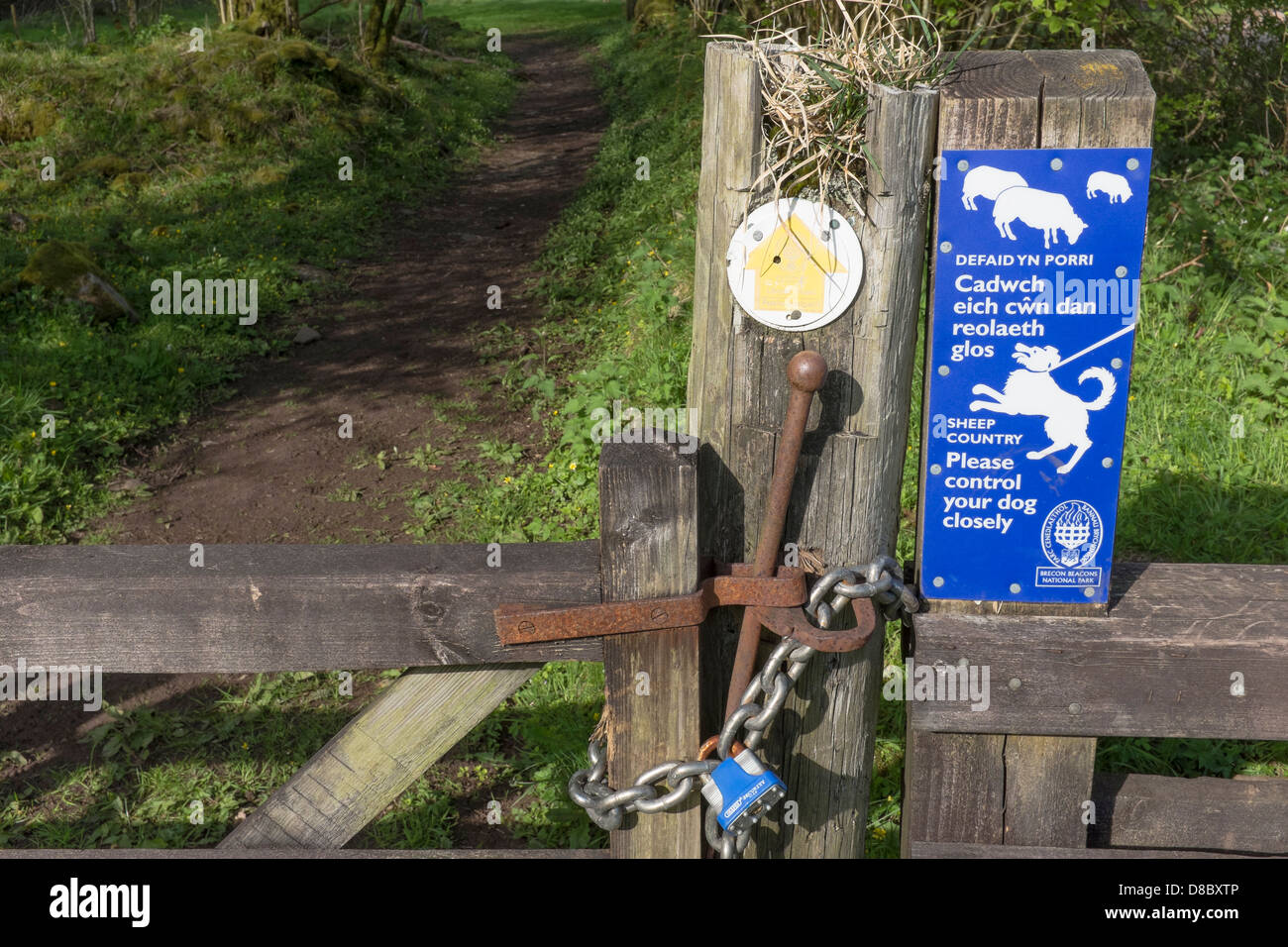 woodland path gate, bridleway. - Stock Image