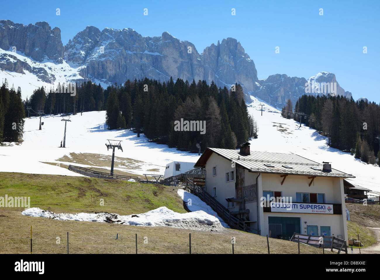 Lifts for skiing, South Tyrol,Dolomiti Superski - Stock Image