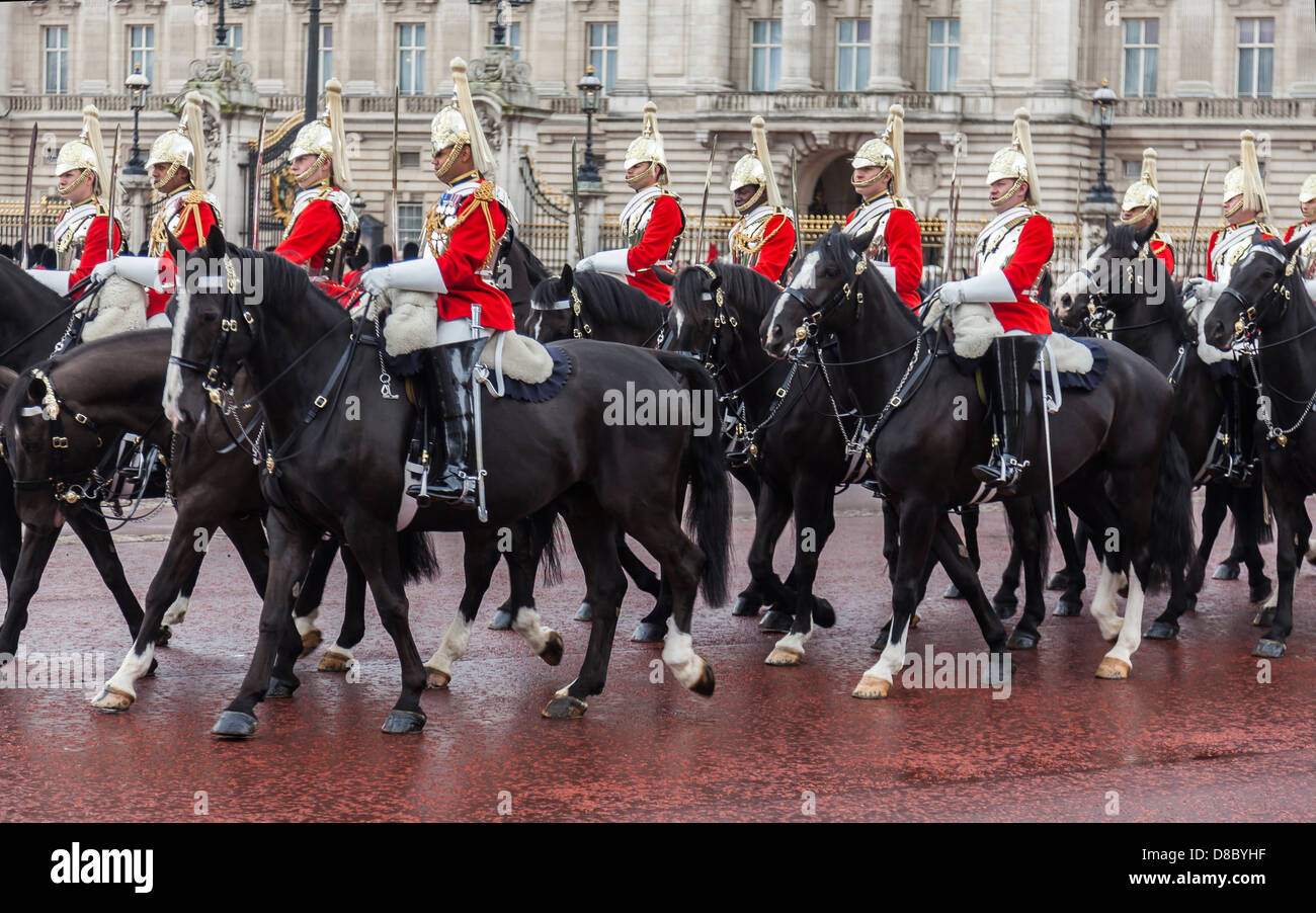 Royal Household Mounted Cavalry at Buckingham Palace - Stock Image