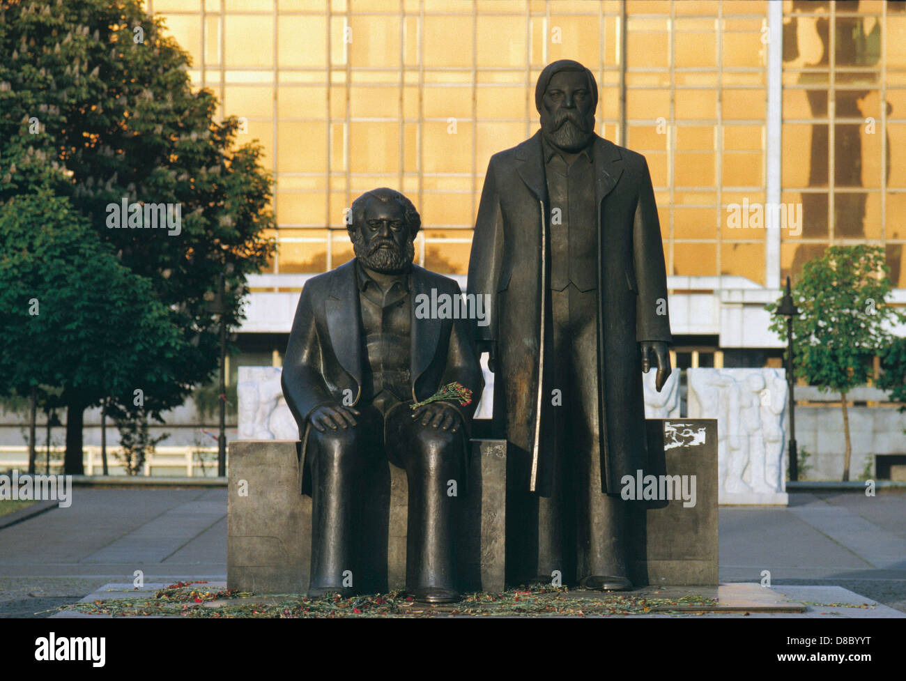 Two statue at monument of german communists, Berlin, Germany - Stock Image