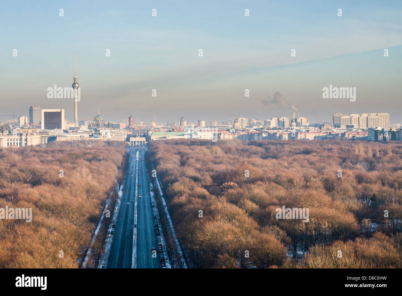 View of Tiergarten from the Victory Column (Siegessäule). - Stock Image