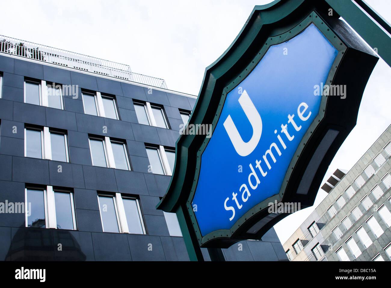 Subway station sign (U-Bahn). Berlin, Germany. - Stock Image